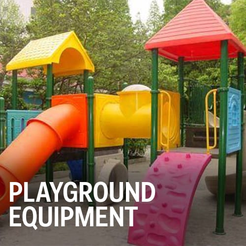 Children's Playground Equipment, slides, climbing walls and roof structures